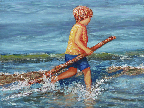 Beach Painting - Beach Enterprise by Nancy Ging