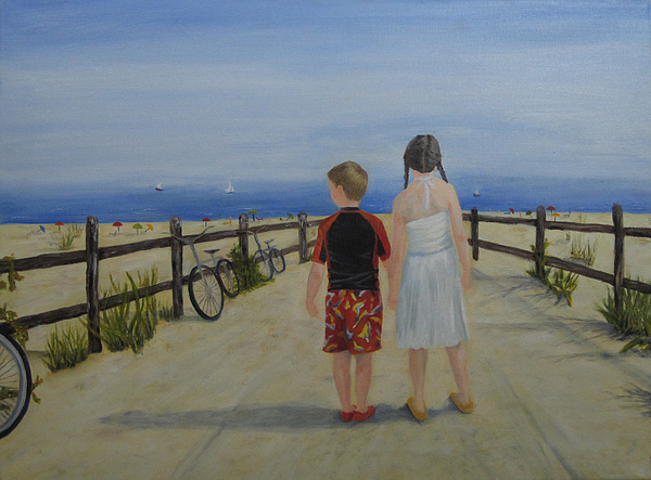 Children Painting - Beach Holiday by Roseann Gilmore