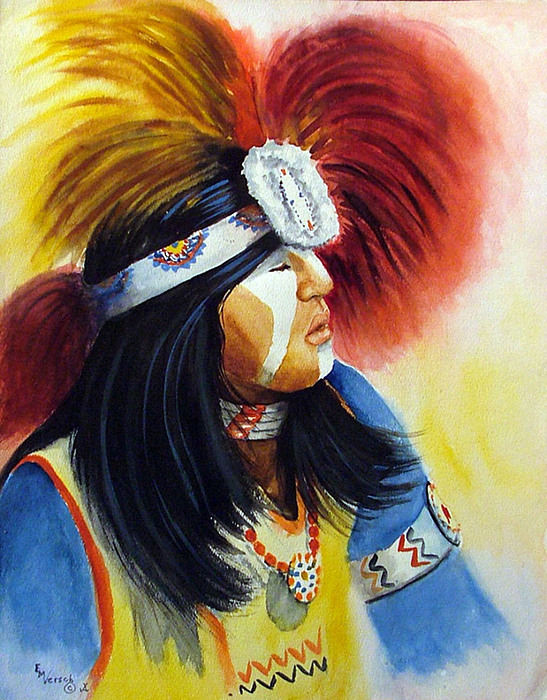 Beads And Feathers Painting by Esther Marie Versch