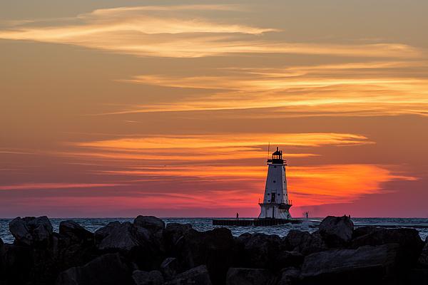 3scape Photograph - Beautiful Ludington Lighthouse Sunset by Adam Romanowicz