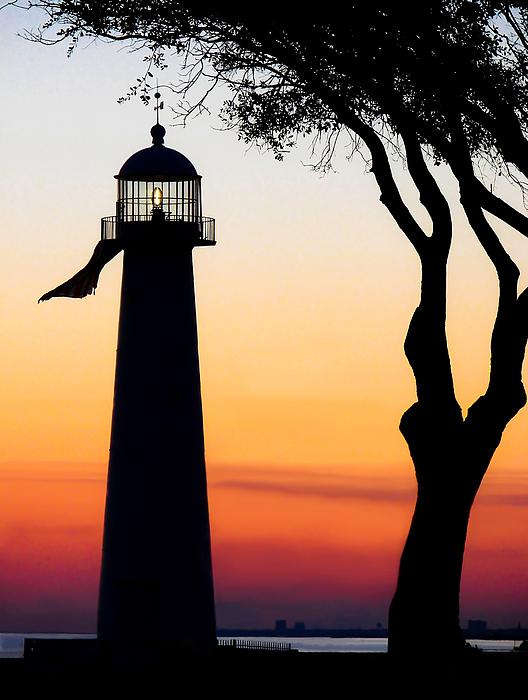 Biloxi Lighthouse Photograph - Biloxi Lighthouse At Dusk by Joan McCool