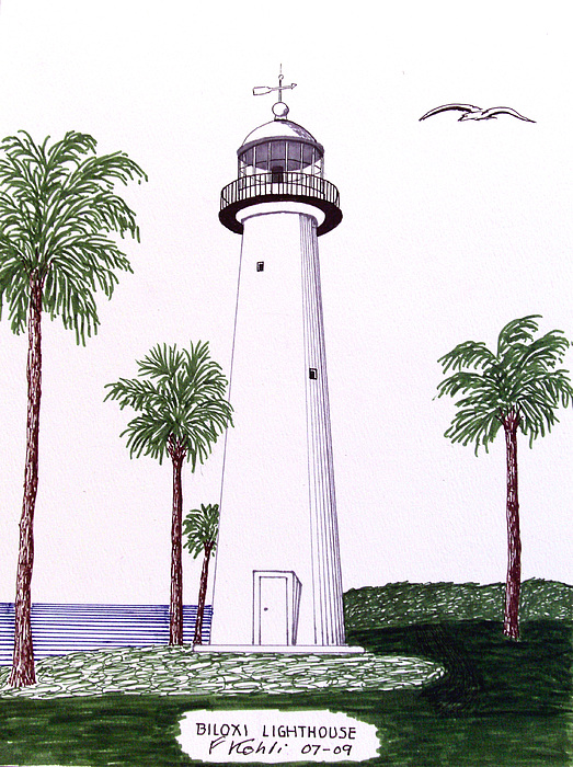 Lighthouse Drawings Drawing - Biloxi Lighthouse by Frederic Kohli