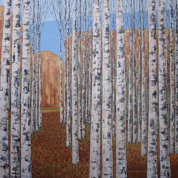 Birch Trees Painting - Birch Tree Stand by Ludmila Kalinina