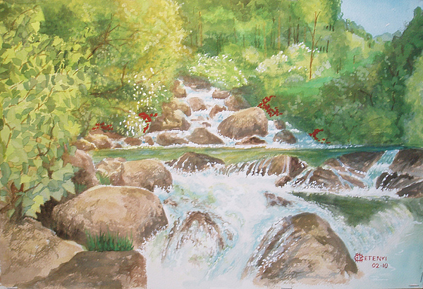 Creek Painting - Bishop Creek South Fork by Charles Hetenyi