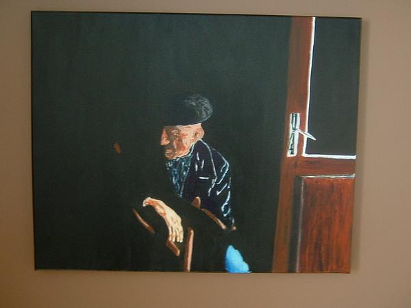 Still Life Painting - Black Beret by Maria Vamosi