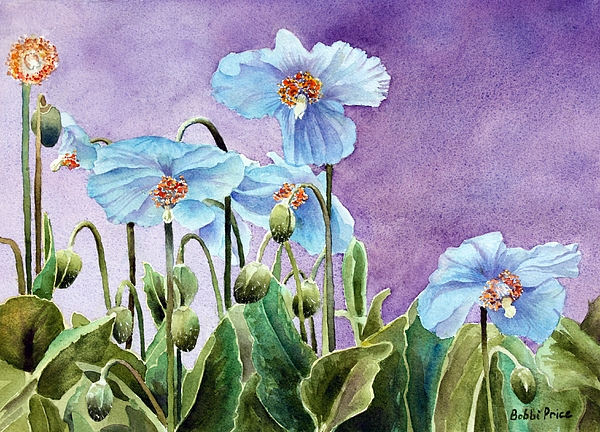 Watercolor Painting - Blue Poppies by Bobbi Price