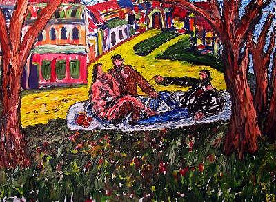 Breakfast In The Park Painting by Ira Stark
