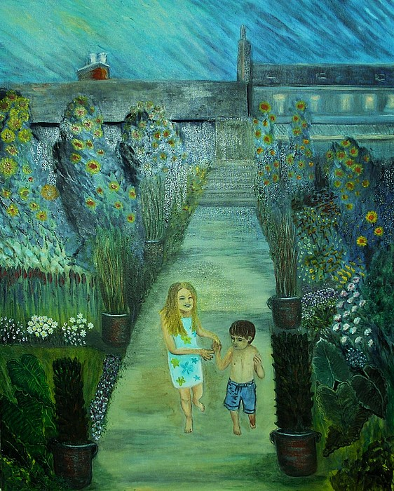 Children Painting - Brother And Sister by Pilar  Martinez-Byrne