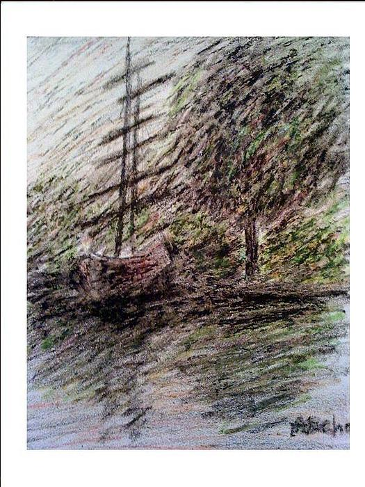Landscape Drawing - By The Lake by Aida Behani