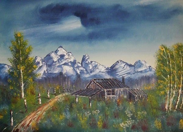 Cabin Painting by Larry Doyle