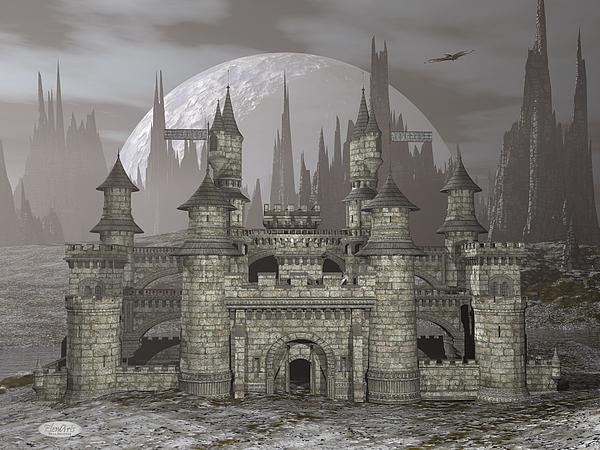 Castle Digital Art - Castle By Night - 3d Render by Elenarts - Elena Duvernay Digital Art