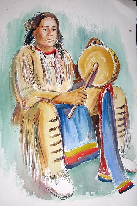 Indians Painting - Cecil With Drum by Murray Keshner