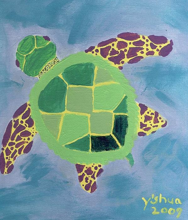 Sea Turtle Painting - Chiaras Turtle by Yshua The Painter