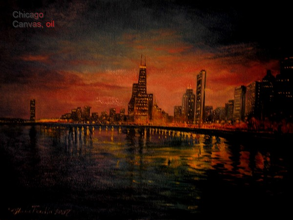 Chicago Painting by Oksana Franklin