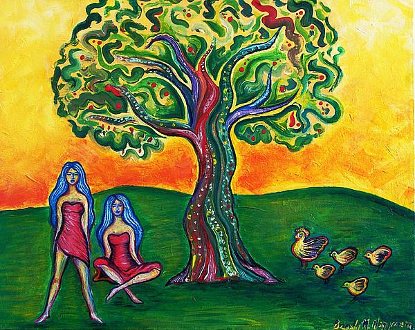 Landscape Painting - Chicas Y Pollos by Brenda Higginson