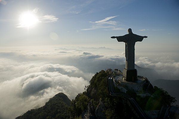 Outdoors Photograph - Christ The Redeemer Statue At Sunrise by Joel Sartore
