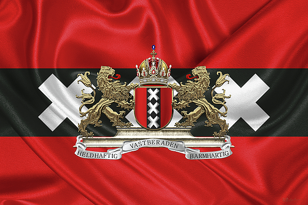 'cities Of The World' Collection By Serge Averbukh Photograph - Coat Of Arms Of Amsterdam Over Flag Of Amsterdam by Serge Averbukh