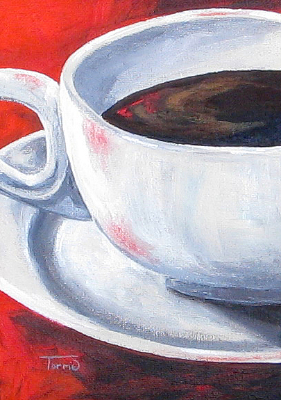 Coffee Painting - Coffee On Red by Torrie Smiley