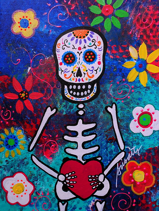 Heart Painting - Corazon Day Of The Dead by Pristine Cartera Turkus