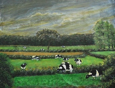Cows In The Rice Field Painting by Mitali Mahapatra