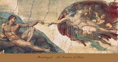 Michelangelo Print - Creation Of Man by Michelangelo