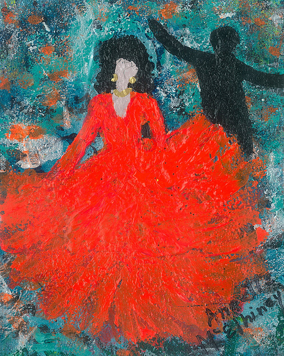 Women Painting - Dancing Joyfully With Or Without Ned by Annette McElhiney