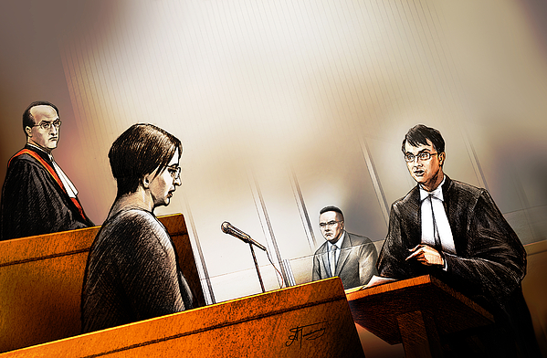 Defence Attorney Dirk Derstine At The Tori Stafford Murder Trial In London Painting by Alex Tavshunsky