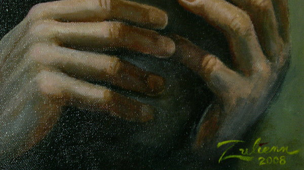 Detail - Temptation Of Christ Painting by R Zulienn
