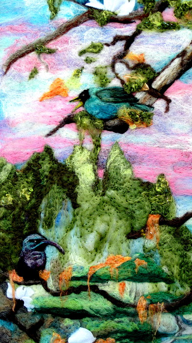 Felt Tapestry - Textile - Detail Of Spring by Kimberly Simon