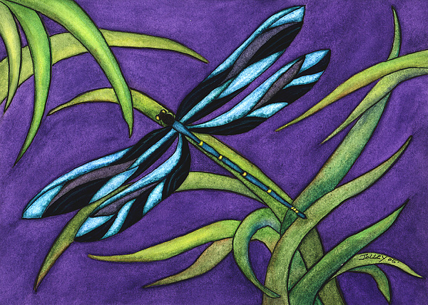 Watercolor Painting - Dragonfly by Stephanie  Jolley