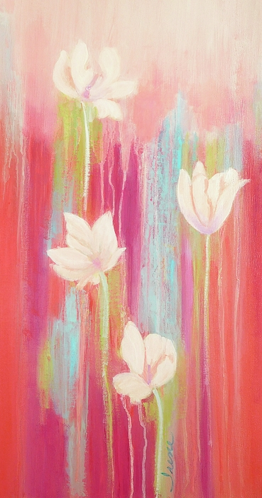 Red Abstract Painting - Simplicity 2 by Irene Hurdle
