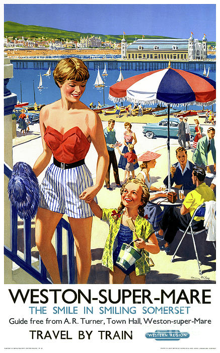 Vintage Travel Drawing - England Weston Super Mare Vintage Travel Poster by Carsten Reisinger