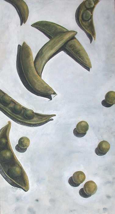 Peas Painting - Escaped Peas by Sandy Clift