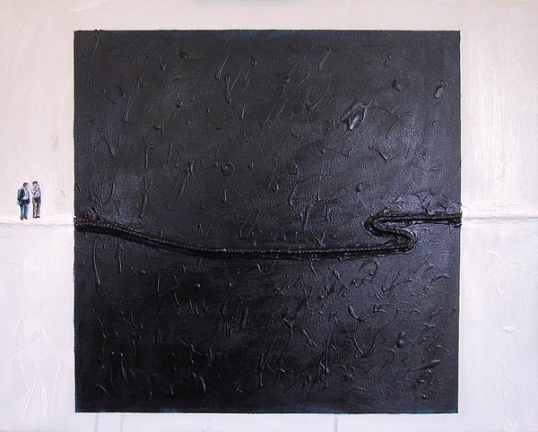 Black Square Painting - Explaining Modern Art Standing On An Elegant Line by Kevin Callahan