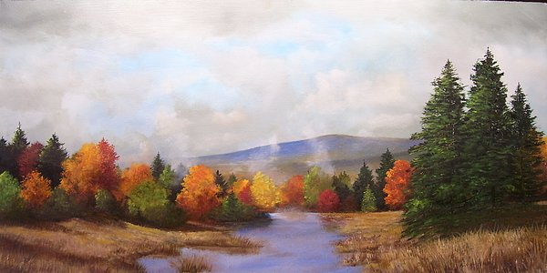 Fall Painting - Fall Pond Scene by Ken Ahlering