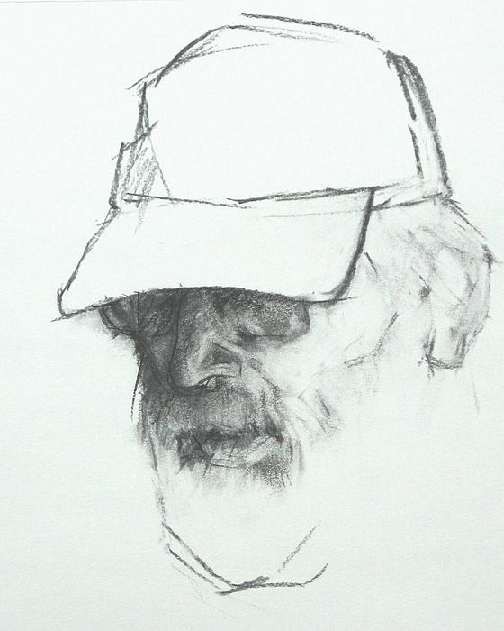 Black Drawing - Farmer by Trudi Smith