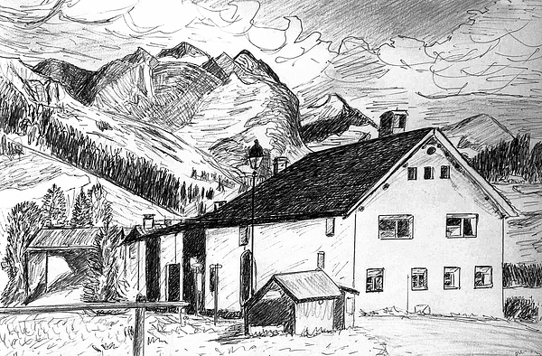Switzerland Drawing - Fextal Switzerland by Monica Engeler