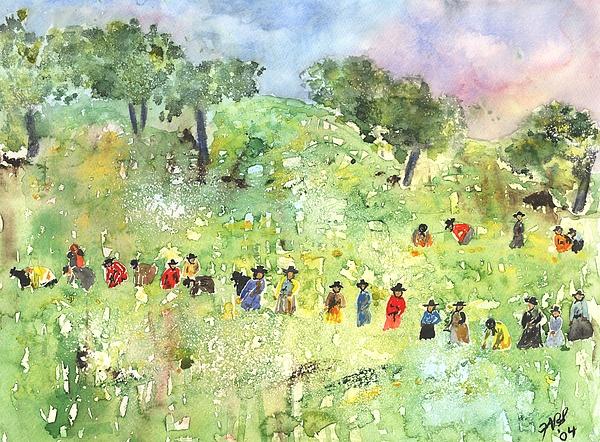 Watercolor Painting - Field Workers by Joyce Ann Burton-Sousa