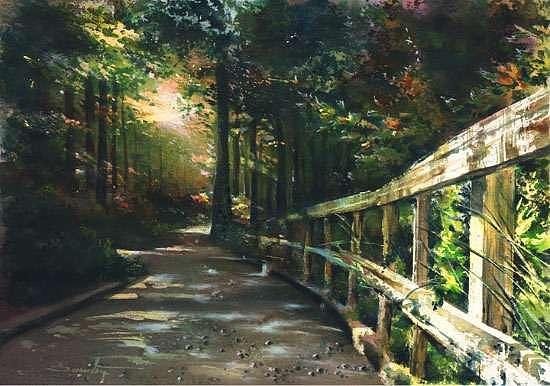 Original Watercolor Painting - Following The Trial by Dumitru Barliga