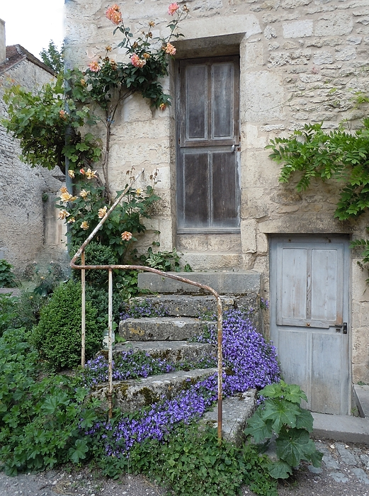 Europe Photograph - French Staircase With Flowers by Marilyn Dunlap