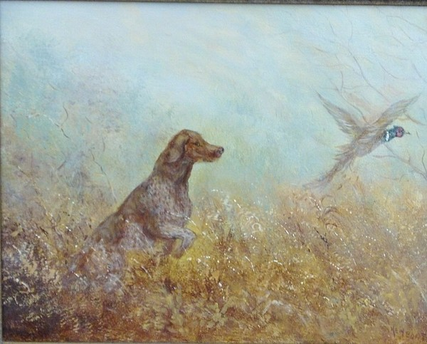 Dog Painting - German Pointer And Pheasant by Ken Boot