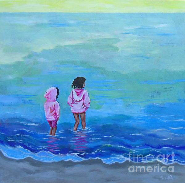 Beach Painting - Girls In Pink by Sandra Yuen MacKay