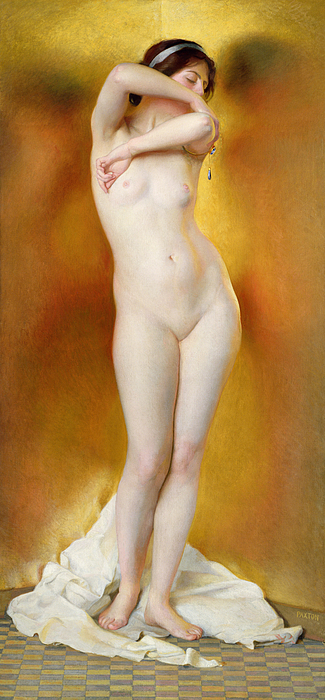 Female Painting - Glow Of Gold Gleam Of Pearl by William McGregor Paxton