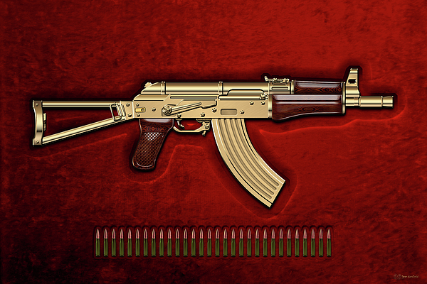 Military Photograph - Gold A K S-74 U Assault Rifle With 5.45x39 Rounds Over Red Velvet   by Serge Averbukh