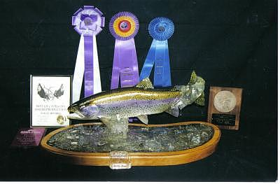 Hand Carved Rainbow Trout Sculpture by Stacey Mitchell