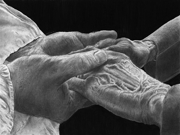 Canvas Prints Drawing - Hands Of Love by Jyvonne Inman