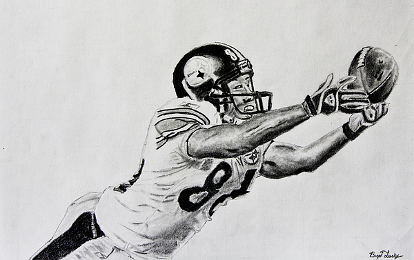 Drawing Drawing - Hines Ward Diving Catch  by Bryant Luchs