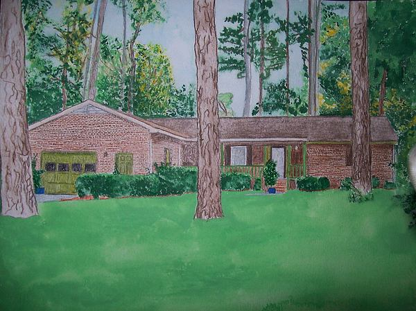 Brick Painting - House Portrait Watercolor U Provide Picture By Pigatopia by Shannon Ivins