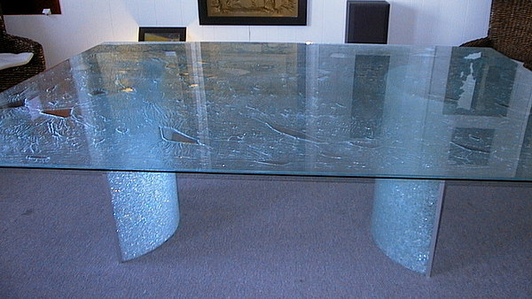 Glass Table Glass Art   Ice Glass Tabletop With Cold Bent Glass Bases By  Rick Silas