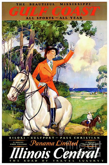 Usa Mixed Media - Illinois Mississippi Restored Vintage Poster by Carsten Reisinger